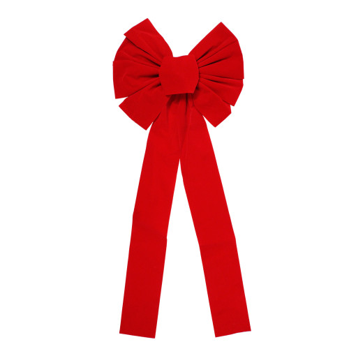 """14"""" x 34"""" Red 9-Loop Velveteen Christmas Bow Decoration - IMAGE 1"""