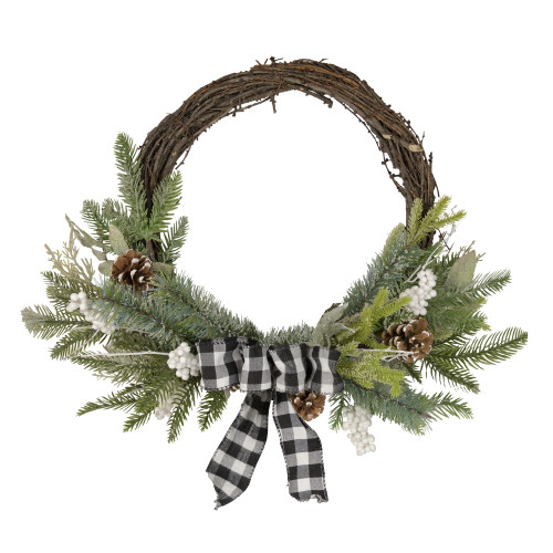 Plaid Bow and Winter Foliage Artificial Christmas Twig Wreath - 23-inch, Unlit - IMAGE 1