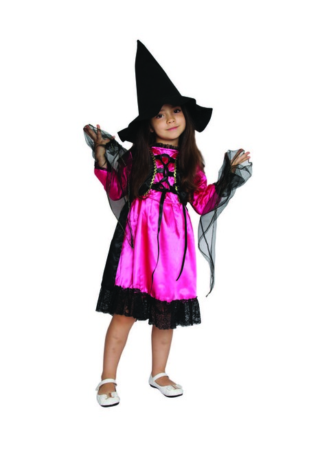 Black and Pink Witch Girl Child Halloween Costume - Medium - IMAGE 1