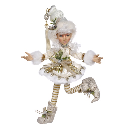 """12"""" Ivory and Gold Mark Roberts Collectible North Pole Snowella Girl Christmas Elf - Small - IMAGE 1"""