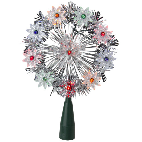 """38"""" Lighted Snowflake Christmas Tree Topper - Multicolor Lights - IMAGE 1"""
