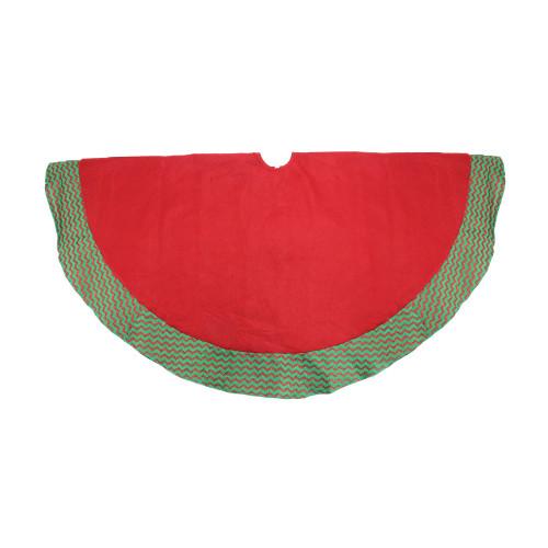 "46.5"" Red and Green Glittered Chevron Border Christmas Tree Skirt - IMAGE 1"