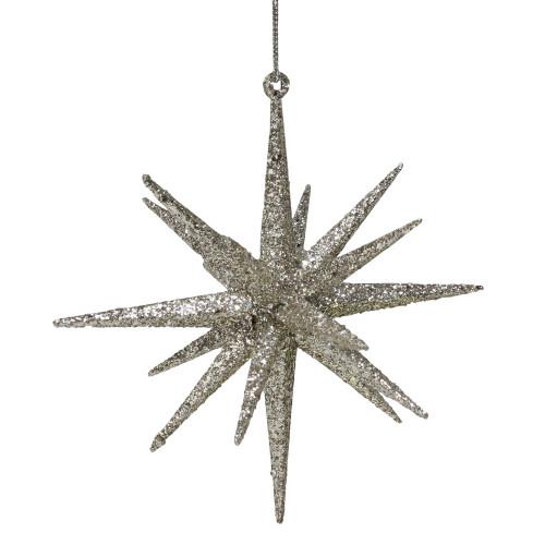 6-Inch Sparkling Silver Glitter Starburst Christmas Ornament - IMAGE 1