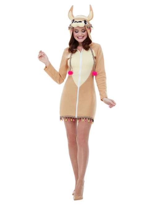 """48"""" Beige and Brown Llama Women Adult Halloween Costume - Small - IMAGE 1"""