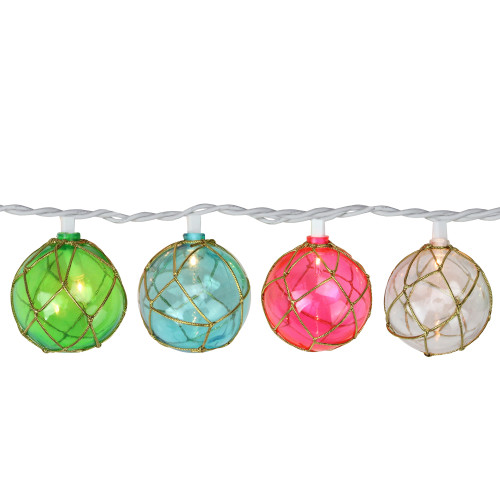 10-Count Pink and Green Globe Summer Patio String Light Set, 6.5 ft White Wire - IMAGE 1
