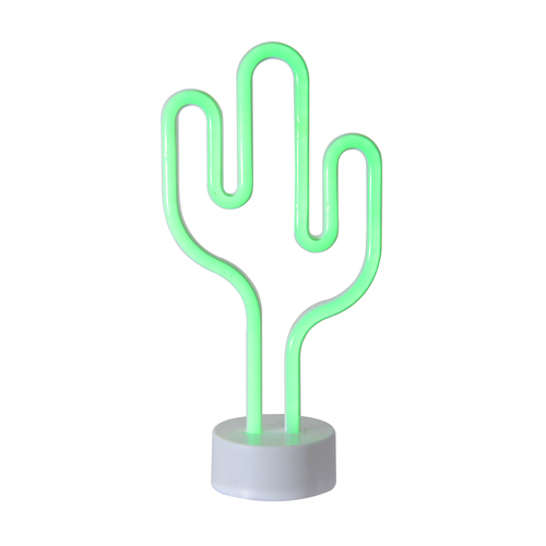 """11.5"""" Battery Operated Neon Style LED Green Cactus Table Light - IMAGE 1"""