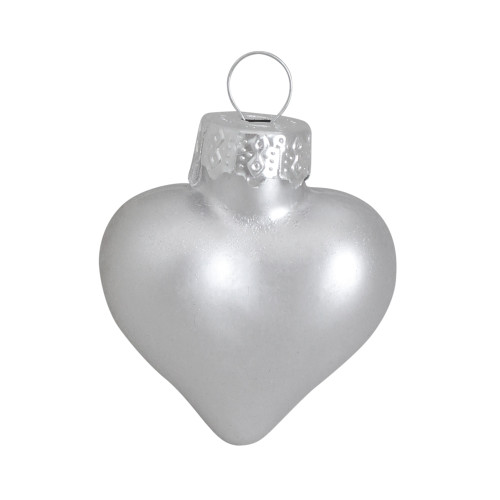 """56ct Matte Silver Glass Heart Christmas Ornaments 1.75"""" (45mm) - IMAGE 1"""