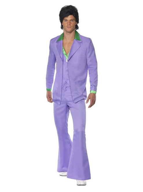 """42"""" Purple and Green 1970's Style Party Men Adult Halloween Costume - Large - IMAGE 1"""
