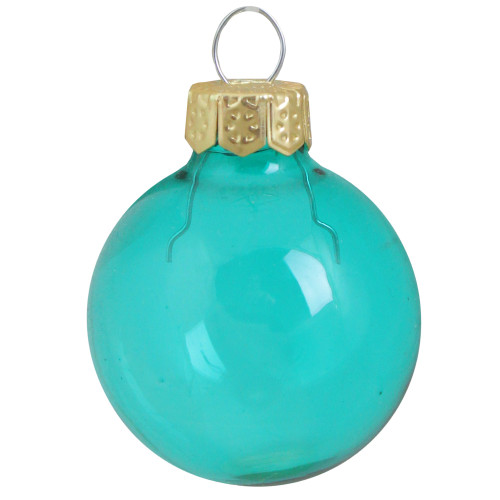 """40ct Turquoise Clear Glass Ball Christmas Ornaments 1.5"""" (40mm) - IMAGE 1"""
