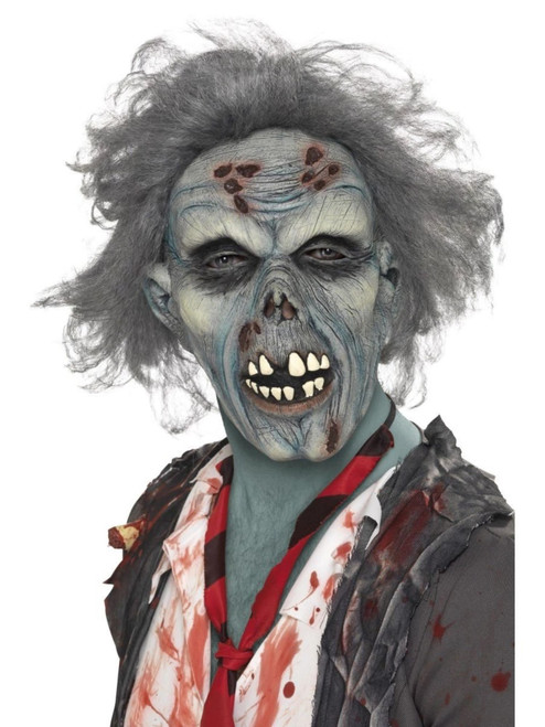 """38"""" Gray and Red Zombie Overhead Men Adult Halloween Mask Costume Accessory - One Size - IMAGE 1"""