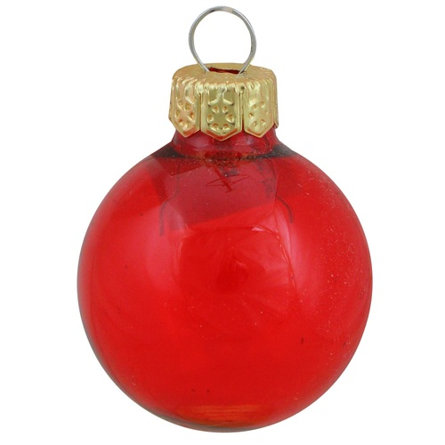 """40ct Clear Red Glass Ball Christmas Ornaments 1.25"""" (30mm) - IMAGE 1"""