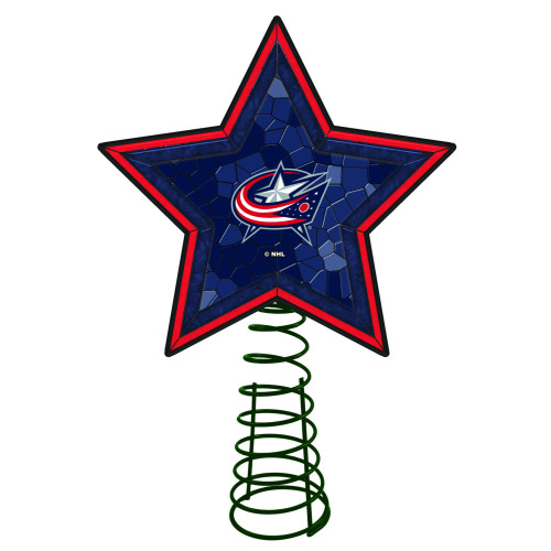 """10"""" Lighted Red and Blue Mosaic Style Star NHL Columbus Blue Jacket Christmas Tree Topper - IMAGE 1"""