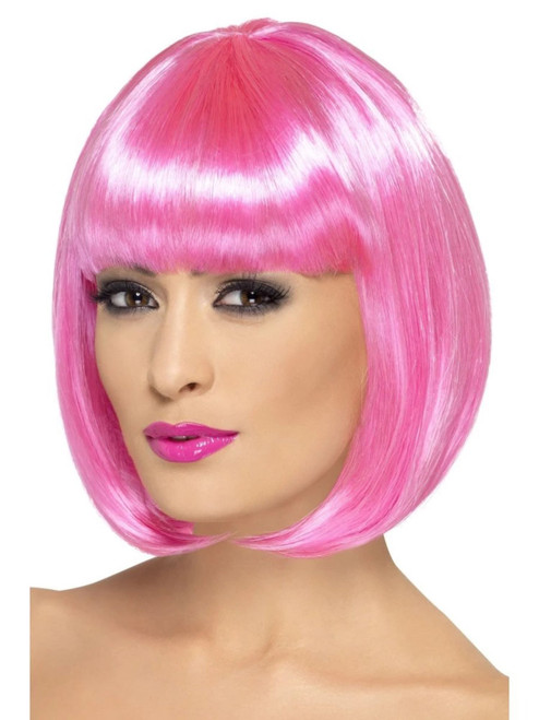 """26"""" Pink Partyrama Short Bob with Fringe Women Adult Halloween Wig Costume Accessory - One Size - IMAGE 1"""