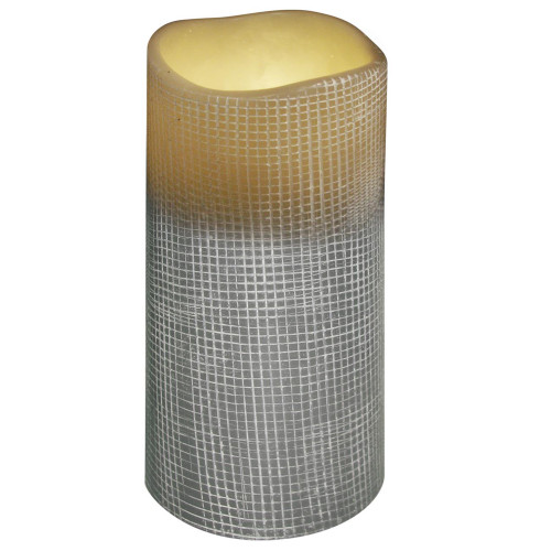 "6"" Stone Grey Lattice Design Battery Operated Flameless Flickering Wax Pillar Candle - IMAGE 1"