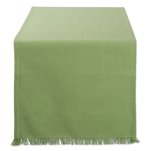 "72"" Green Solid Fringe Rectangular Table Runner - IMAGE 1"
