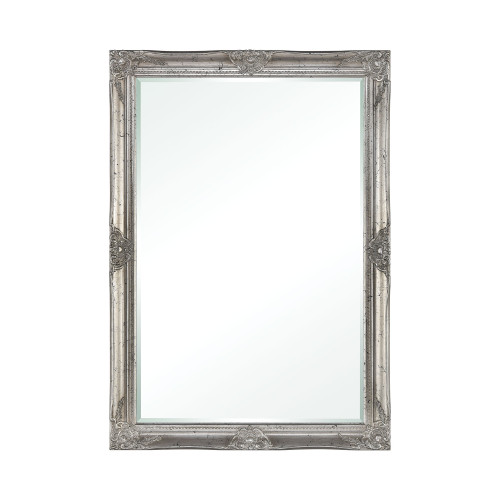 """41"""" Antique Silver Finished Wooden Framed Beveled Rectangular Wall Mirror - IMAGE 1"""