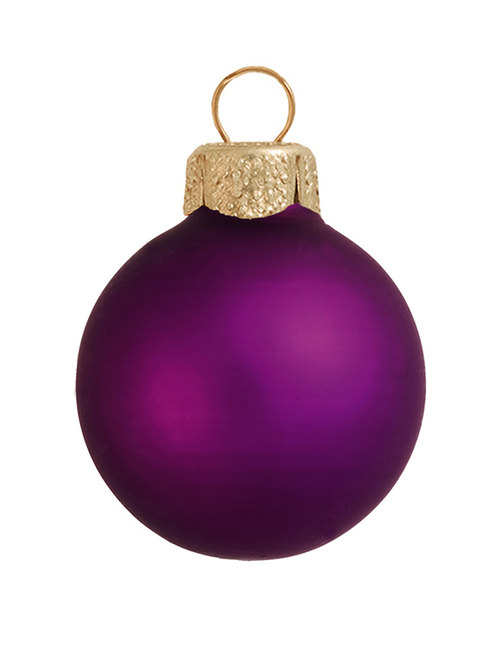 "12ct Purple Glass Matte Finish Christmas Ball Ornaments 2.75"" (70mm) - IMAGE 1"