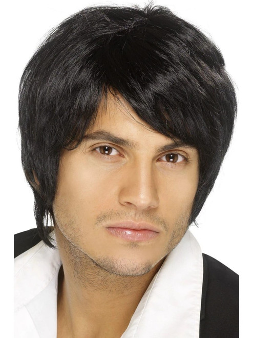 """26"""" Black 1990's Style Boy Band Men Adult Halloween Wig Costume Accessory - One Size - IMAGE 1"""