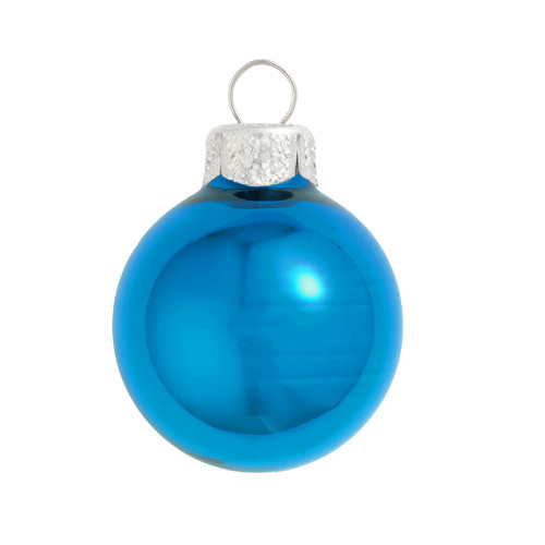 """40ct Shiny Turquoise Blue Glass Ball Christmas Ornaments 1.25"""" (30mm) - IMAGE 1"""