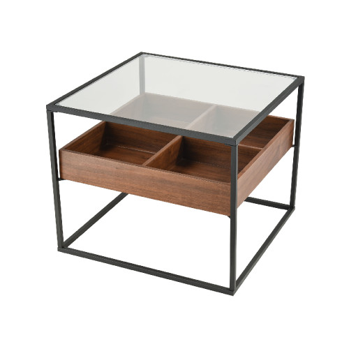 19.50-Inch Walnut and Black with Glass Frame Accent Table - IMAGE 1