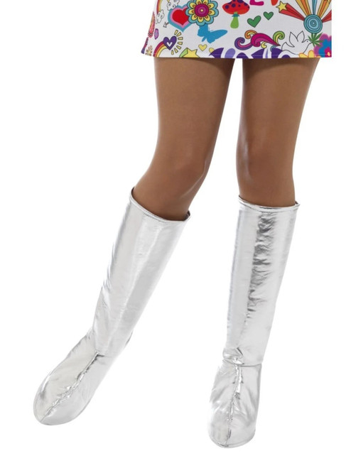 """39"""" Silver 1960's Style Gogo Women Boot Covers Costume Accessory - One Size - IMAGE 1"""