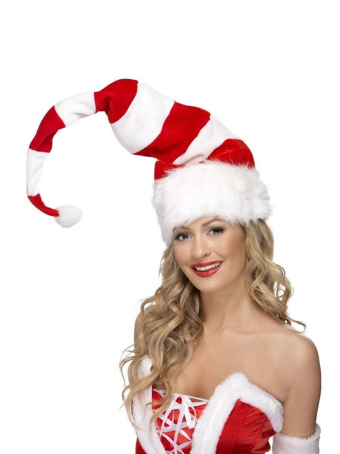 """53"""" Red and White Striped Santa Unisex Adult Christmas Hat Costume Accessory - One Size - IMAGE 1"""