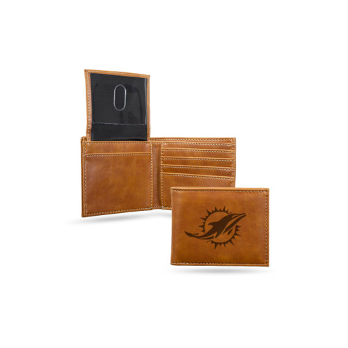 """4"""" Brown NFL Miami Dolphins Engraved Billfold Wallet - IMAGE 1"""