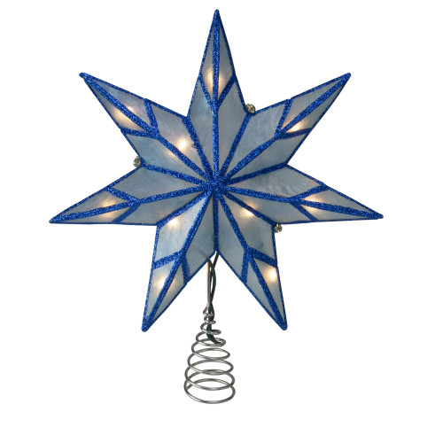 """10"""" Lighted Blue Star Christmas Tree Topper - Clear Lights - IMAGE 1"""