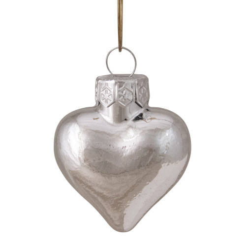 """56ct Shiny Silver Glass Heart Christmas Ornaments 1.5"""" (38mm) - IMAGE 1"""