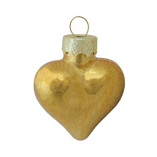 "56ct Shiny Gold Heart Glass Christmas Ornaments 1.75"" (45mm) - IMAGE 1"