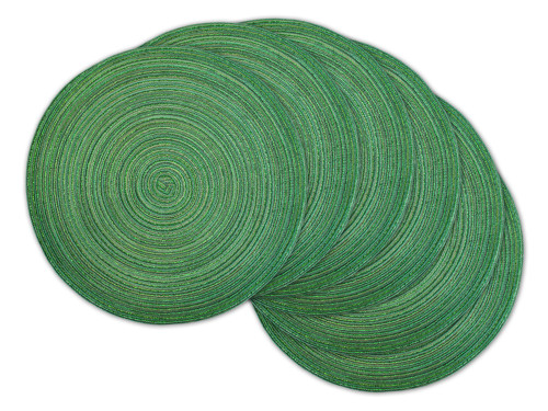 "Set of 6 Variegated Green Lurex Round Woven Placemats 15"" x 15"" - IMAGE 1"