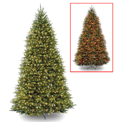 12' Pre-Lit Dunhill Fir Artificial Christmas Tree – Multi-Color/Warm White LED Lights - IMAGE 1