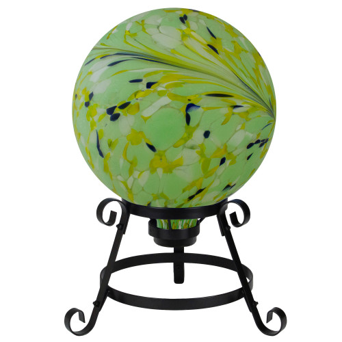 "10"" Yellow, Green and Blue Hand Painted Swirled Outdoor Patio Garden Gazing Ball - IMAGE 1"