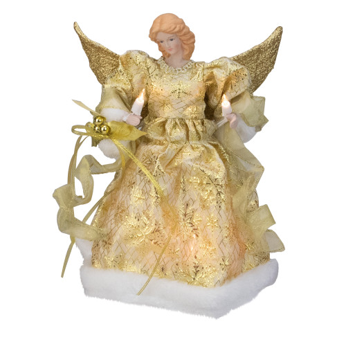 """12"""" Lighted Gold Angel With a Snowflakes Christmas Tree Topper - Clear Lights - IMAGE 1"""
