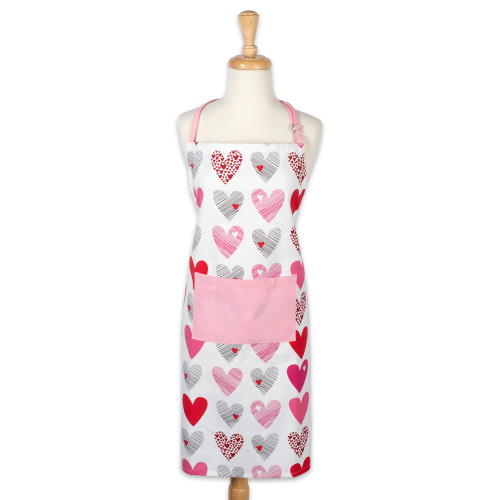 "32"" White and Pink Hearts Collage Printed Chef's Apron - IMAGE 1"