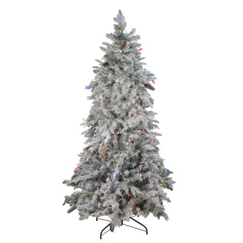 6.5' Pre-Lit Flocked Dunton Spruce Slim Artificial Christmas Tree - Multi Lights - IMAGE 1