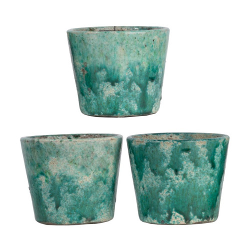 "Set of 3 Teal Green and White Garden Terracotta Planters 5.5"" - IMAGE 1"