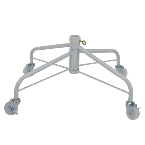 White Metal Rolling Christmas Tree Stand for 6.5'-7.5' Artificial Trees - IMAGE 1