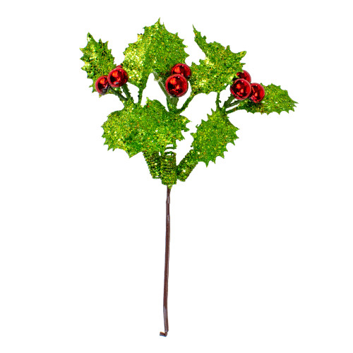 """10.5"""" Green and Red Holly Berry With Glitter Christmas Pick - IMAGE 1"""