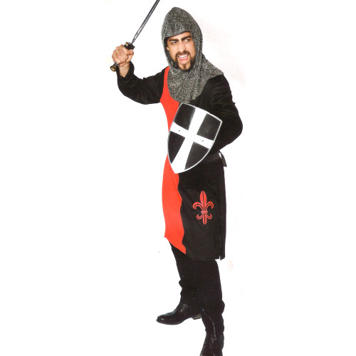 Red and Black Knight Men Adult Halloween Costume - Large - IMAGE 1