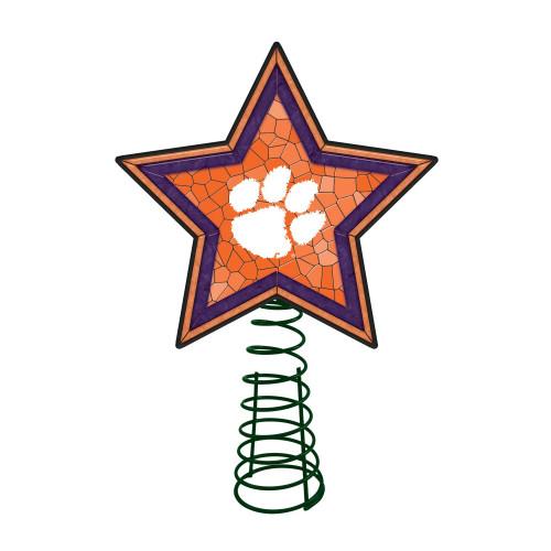 "10"" Lighted Orange and Purple Star NCAA Clemson Tigers Mosaic Christmas Tree Topper - IMAGE 1"