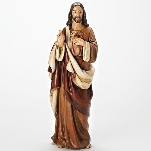 "18"" Brown and Ivory Sacred Heart of Jesus Religious Statue - IMAGE 1"