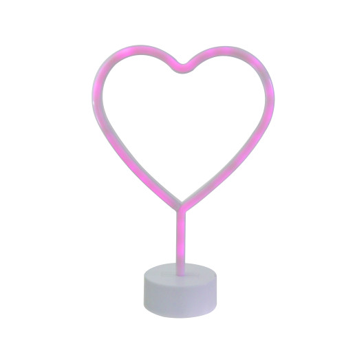 """11.5"""" Battery Operated Neon Style LED Pink Valentine's Day Heart Table Light - IMAGE 1"""