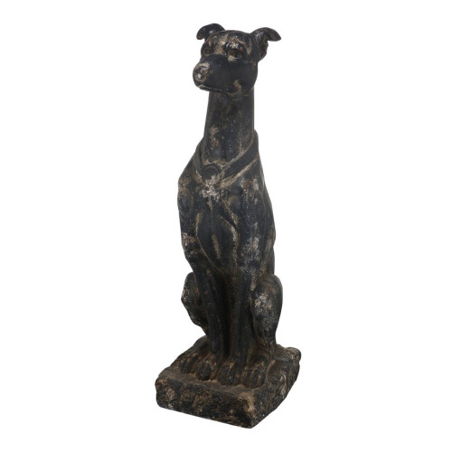 """31"""" Black and Gold Distressed Modern Chic Statuary and Figurines Dog Statue - IMAGE 1"""