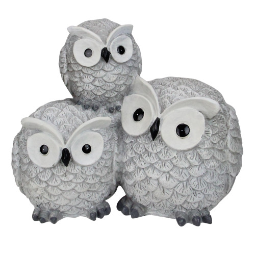 """7.25"""" Gray Wide Eyed Outdoor Stacked Owl Garden Statue - IMAGE 1"""