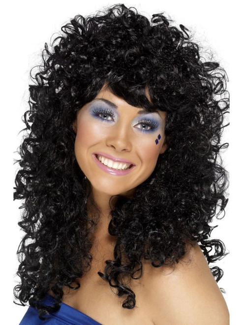 """26"""" Black 1980's Style Boogie Babe Women Adult Halloween Wig Costume Accessory - One Size - IMAGE 1"""