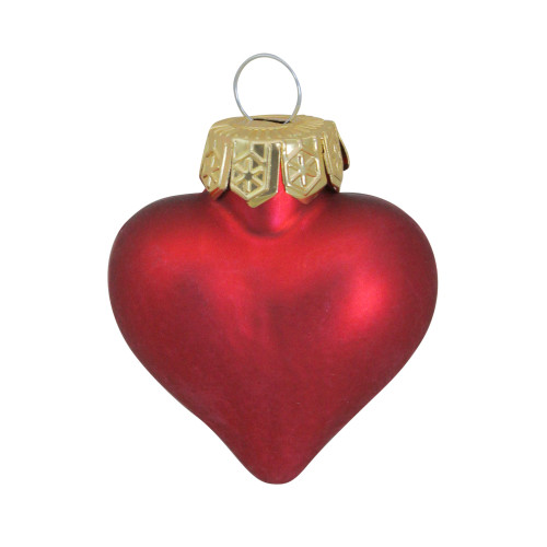 """56ct Matte Red Glass Heart Christmas Ornaments 1.75"""" (45mm) - IMAGE 1"""