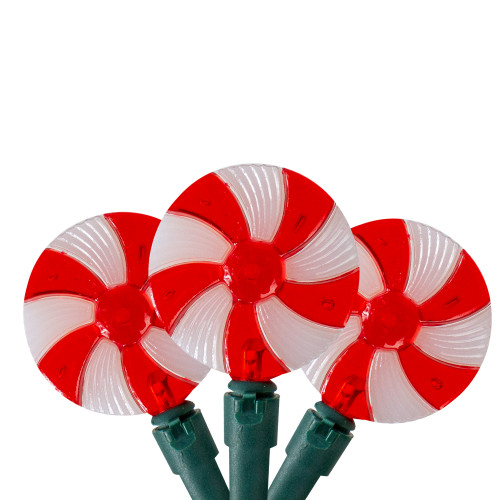 Set of 20 Peppermint Candy Patio Christmas Lights- 9.5 ft Green Wire - IMAGE 1