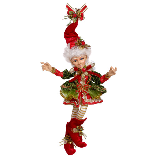 "12"" Red and White Holly Belle Mark Roberts Christmas Elf Ornament - IMAGE 1"