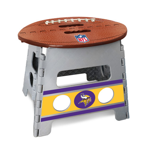 "14"" Gray and Brown NFL Minnesota Vikings Folding Step Stool - IMAGE 1"